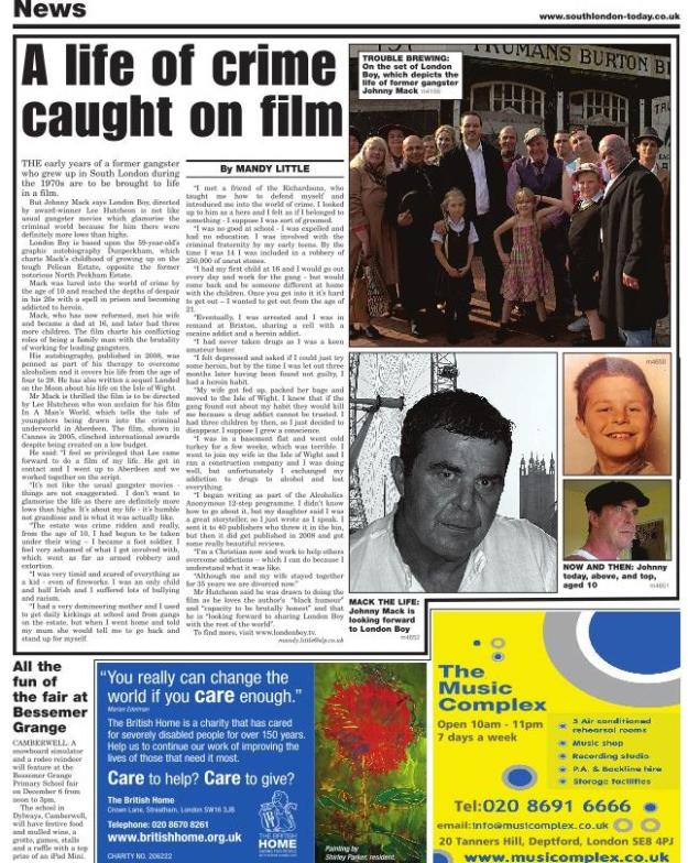 Press release from South London Press newspaper, describing the forthcoming London Boy feature film